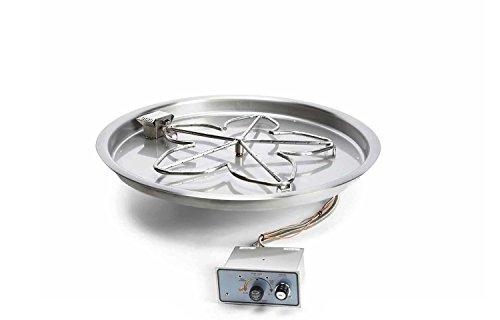Hearth Products Controls PENTA25FPPK-FLEX-NG Push Button Flame Sensing Natural Gas Fire Pit Kit 25-Inch Bowl Pan