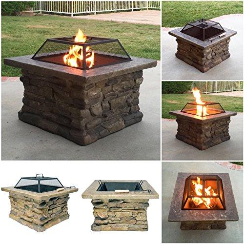 Fire Realm Elegant 29 Outdoor Patio Firepit w Iron Bowl Stone Base Mesh Pit