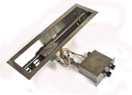 FPPK24-TRGH 24in Linear Trough Manual SparkFlame Sensing Firepit Insert