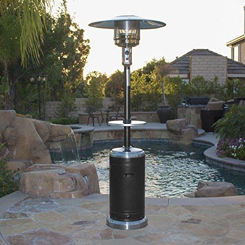 Belleze Commercial Patio Heater Propane Heat with Table Wheels 48000 BTU -Black