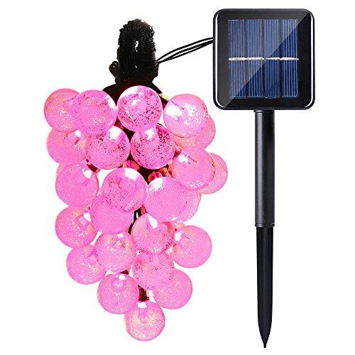 Qedertek Solar Globe String Lights 20ft 30 LED Waterproof Outdoor Globe Fairy Lighting for IndoorOutdoor Home Patio Lawn Garden Wedding Party Decorations Pink