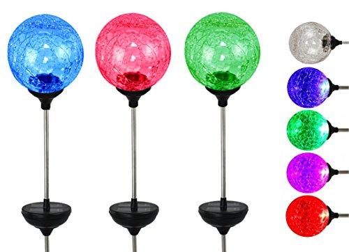 Solar LED Color Changing Crackle Garden Glass Globe Balls - Solar Lawn Light - 3 Pc Set 315 Ball Dia