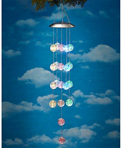 Solar Lighted Orb Spheres Garden Chandelier Mobile Outdoor Decoration multi Color