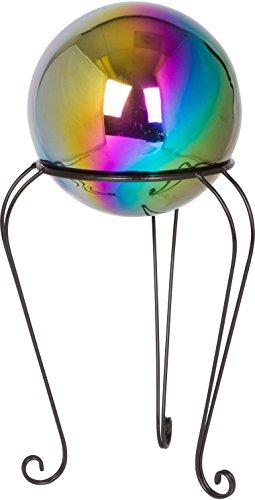 12&quot Metal Gazing Ball Standamp 8&quot Gazing Ball rainbow By Trademark Innovations