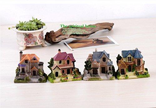 SUN-E 4 In Set Moss fairy Miniature Fairy Garden Stone Villa House Statue European Style Home Decoration Outdoor Decor