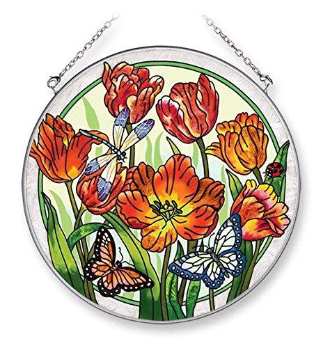 Amia 42054 6-12-inch Hand Painted Glass Circle Suncatcher Large Bright Tulip Design