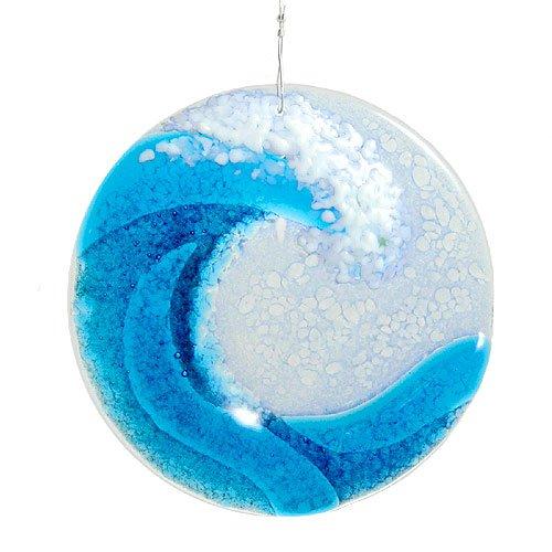 Ocean Wave Fused Glass Sun Catcher Handmade In Usa