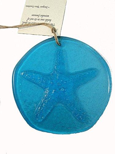 Starfish Suncatcher Aqua Blue 100 Recycled Glass - Made In Usa