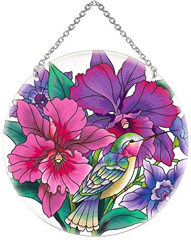 65&quot Hummingbirdsamp Orchids Painted Glass Suncatcher By Joan Baker