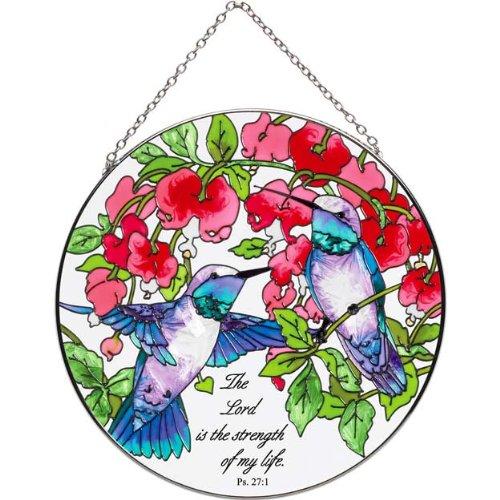 65&quot Painted Glass Suncatcher By Joan Baker Lc284-bleeding Heartsamp Hummingbirds Ps 271