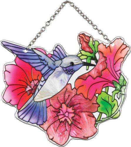 Joan Baker Designs Ssc1026 Hummingbird And Petunia Art Glass Suncatcher