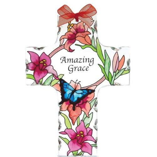 Joan Baker Designs Sx2004 4-inch By 5-12-inch Butterflieslilies Art Glass Cross Suncatcher