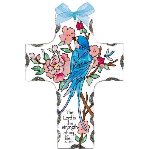 Joan Baker Designs Sx2007 4-inch By 5-12-inch Swallow With Peonies Art Glass Cross Suncatcher