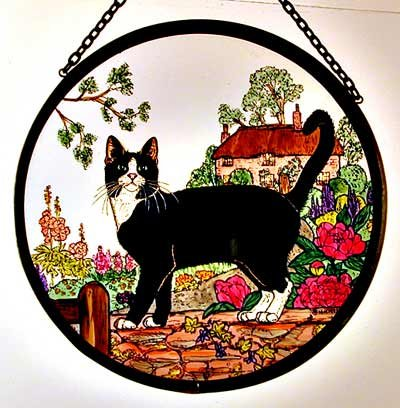 Decorative Hand Painted Stained Glass Window Sun Catcherroundel In A Cottage Garden Cat Design