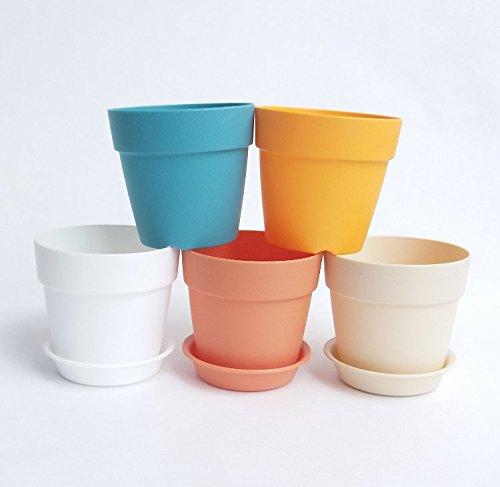 AS Mini resin Plastic Flower Seedlings Nursery PotFlower Pot with Pallet  Garden Plant Pot Home Decoration5Pack