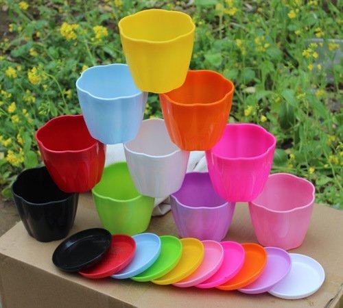 P2Pzita 35 Mini Plastic Flower Seedlings Nursery Pot Planter  Flower Pot with Pallet 10 ColorsAll