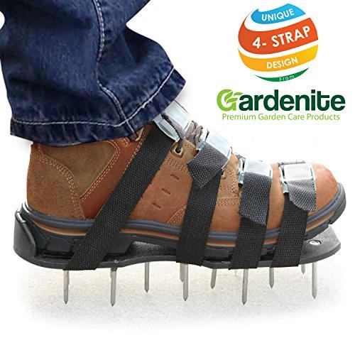 Premium Nylon  Not Plastic  Heavy Duty Lawn Aerator Shoes - 4 Adjustable Straps And Metal Buckles - Nylon Aeration