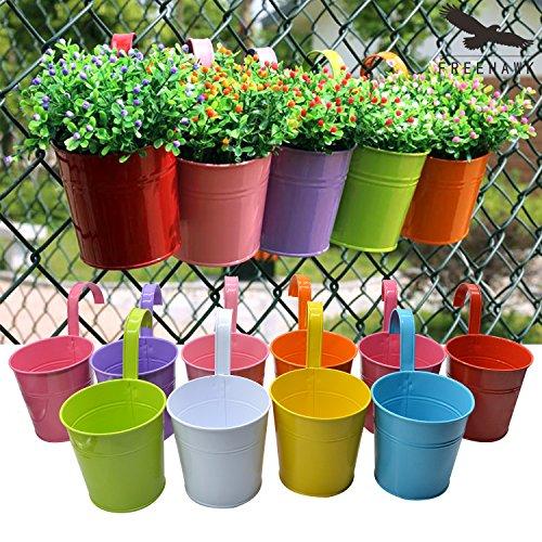 Hanging Flower Pots,out Topper Balcony Garden Plant Planter Metal Iron Mini Flower Seedlings Brigade Fence Bucket