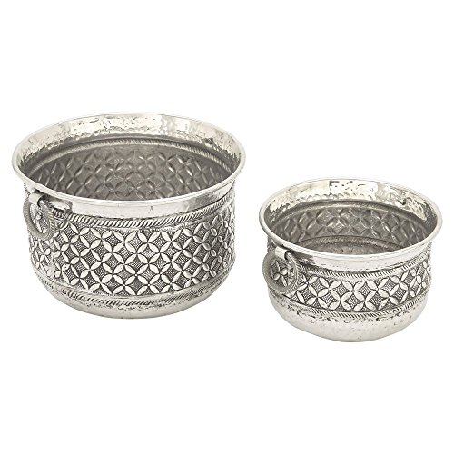 DecMode Finished Aluminum Planters - Set of 2