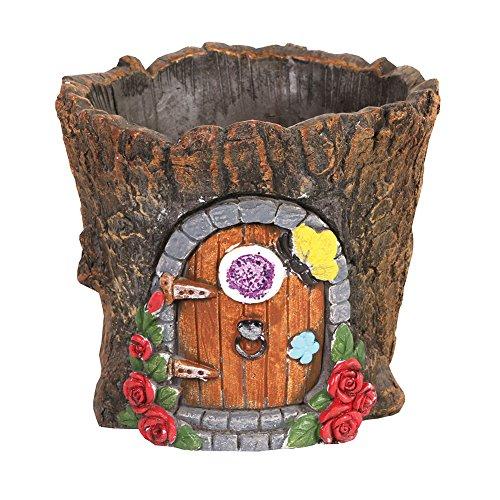 Fairy Door Cement Flower Pot - Garden Gnome House Tree Stump Planter