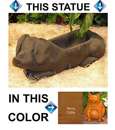 PIG Hog PLANTER 215 Burnt Orange Stain CAST CEMENT FLOWER POT Stone OUTDOOR Indoor GARDEN Decor CAST Entry ACCENT
