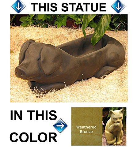 PIG Hog PLANTER 215 Green-Brown Stain CAST CEMENT FLOWER POT Stone OUTDOOR Indoor GARDEN Decor CAST Entry ACCENT