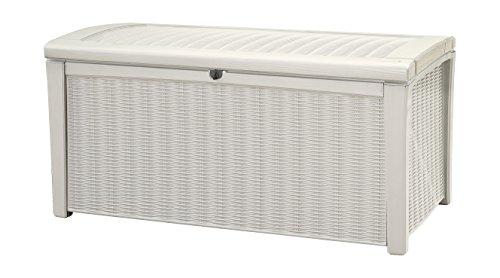 Keter Borneo Plastic Deck Storage Container Box Outdoor Patio Garden Furniture 110 Gal White