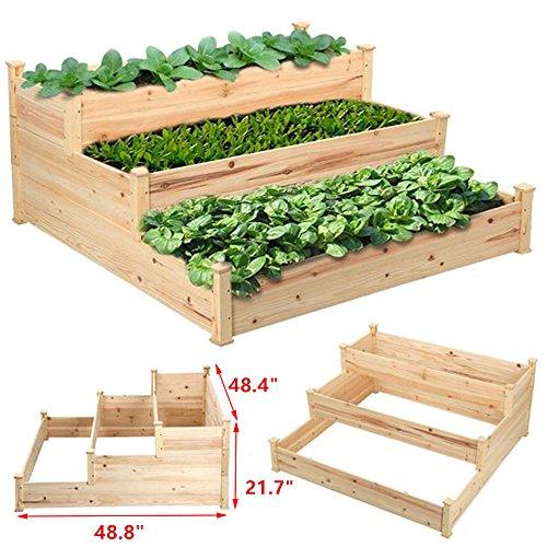 go2buy Rustic Elevated Garden Bed Raised Garden Planters Kit Deck Patio or Yard 488 x 484 x 217
