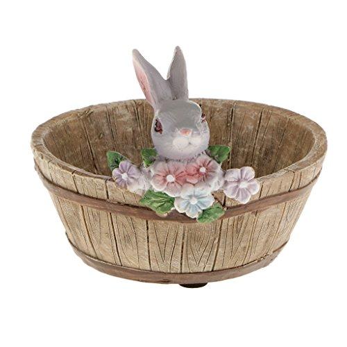 Resin Gray Rabbit Patio Garden Planter Bed Herbs Cacti Succulent Bonsai Pot