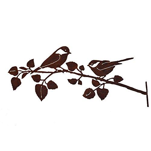 Elegant Garden Design Chickadees on Birch Branch Steel Silhouette with Rusty Patina