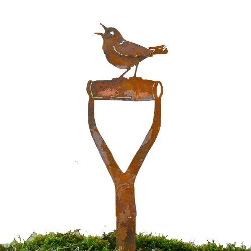 Elegant Garden Design Singing Warbler Shovel Handle Steel Silhouette with Rusty Patina