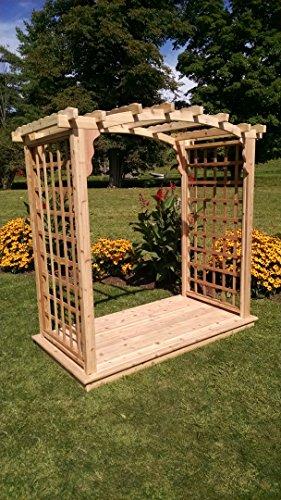A L Furniture 6 Cambridge Cedar Arbor Deck Walk Thru 72W x 40D x 81H Outside 87W x 47D x 90H unfinished