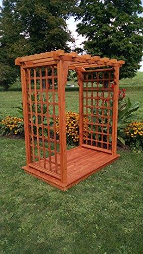 Amish-Made Lexington Style Cedar Arbor with Deck - 6 Wide Walkthrough Cedar Stain