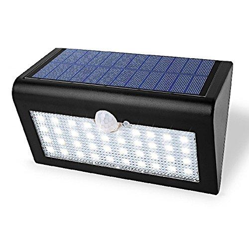 "AGS â""¢ 38 LED Solar Sensor Powered Wall Lights Weatherproof Motion Sensor Light Garden Fence Patio Deck Yard Home Driveway Stairs Outside Wall"