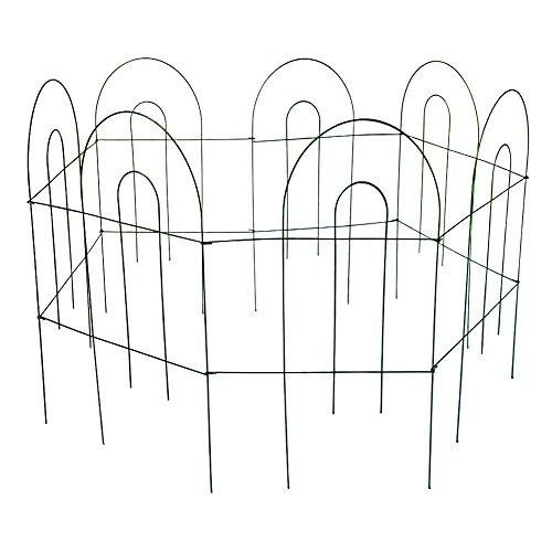 Amagabeli 32 Inches by 11 Feet Rustproof Green Folding Metal Decorative Fence - 7 Panels Iron Garden Fence Garden Border Fence Garden Fence Panels Garden Fencing Folding Patio Fences Panels