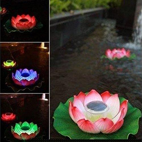 Ecbuy Waterproof Solar Floating Led Lotus Light Color-changing Flower Night Lamp pond gardenhouse Lights For