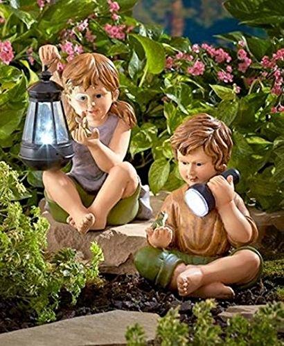LXQ ~ Solar Powered 2 Children Statues Boy Girl Outdoor Garden Patio Yard Pond Decor