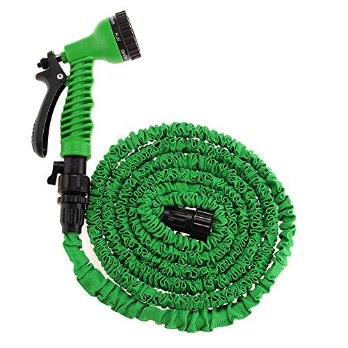 25ft Expanding Green Water Hose Flexible Garden Watering Sprayer Expandable