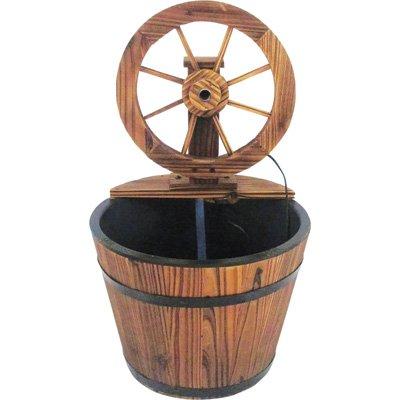 Fir Wood Wagon Wheel Rain Barrel Fountain