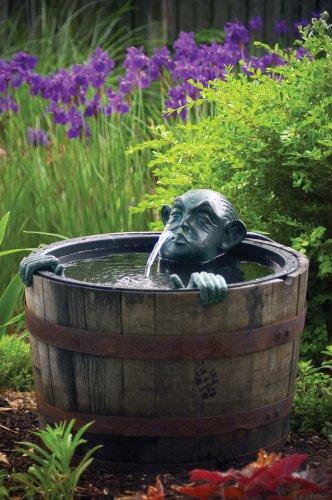 Man In Barrel Outdoor Garden Spitter Fountain Kit