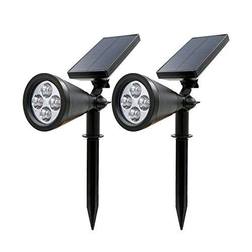 Rusee Solar Lights Spotlight Outdoor Landscape Lighting Waterproof Wall Light Security Night Lights Dark Sensing