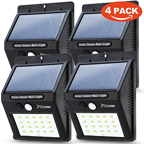 Solar Power Sensor Wall Light Costech 20 LED Ultra Bright Wireless Security Motion Weatherproof Outdoor Lamp for Patio Deck Yard Garden Home Solar sensor 20 LED - 4Pack