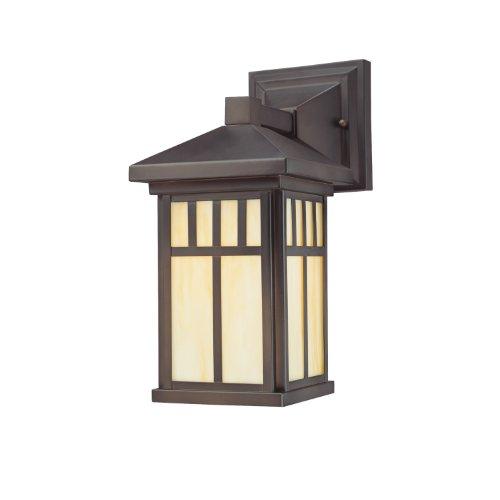 Westinghouse 6732800  Burnham One-light Exterior Wall Lantern  On Steel With Honey Art Glass  Oil Rubbed Bronze