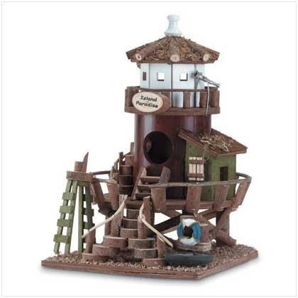 koehler Home Decor Outdoor Garden Accent Lighthouse Design Wooden Bird House Island Paradise by Koehler