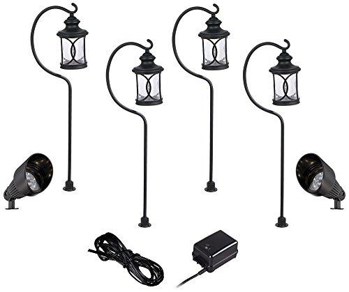 Capistrano Black 4-Path 2-Spot LED Landscape Lighting Kit