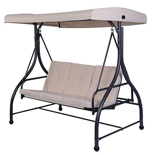Tangkula Converting Outdoor Swing Canopy Hammock 3 Seats Patio Deck Furniture Beige