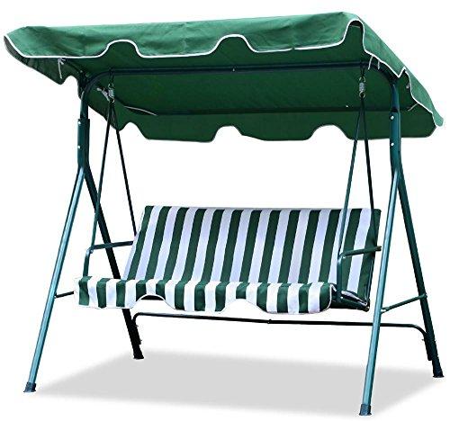 World Pride Gardenbackyard 3 Seater Cushioned Patio Swingwith Uv Protected Canopy Max Load550lbwhitegreen