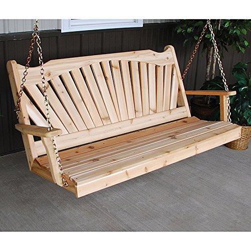 A&L Furniture Co Fanback Red Cedar Porch Swing  4 Foot Unfinished