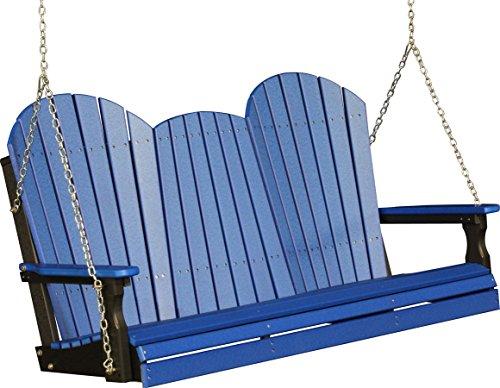 Outdoor Poly 5 Foot Porch Swing - Adirondack Design -Blue Color
