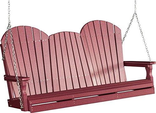 Outdoor Poly 5 Foot Porch Swing - Adirondack Design-Cherrywood Color